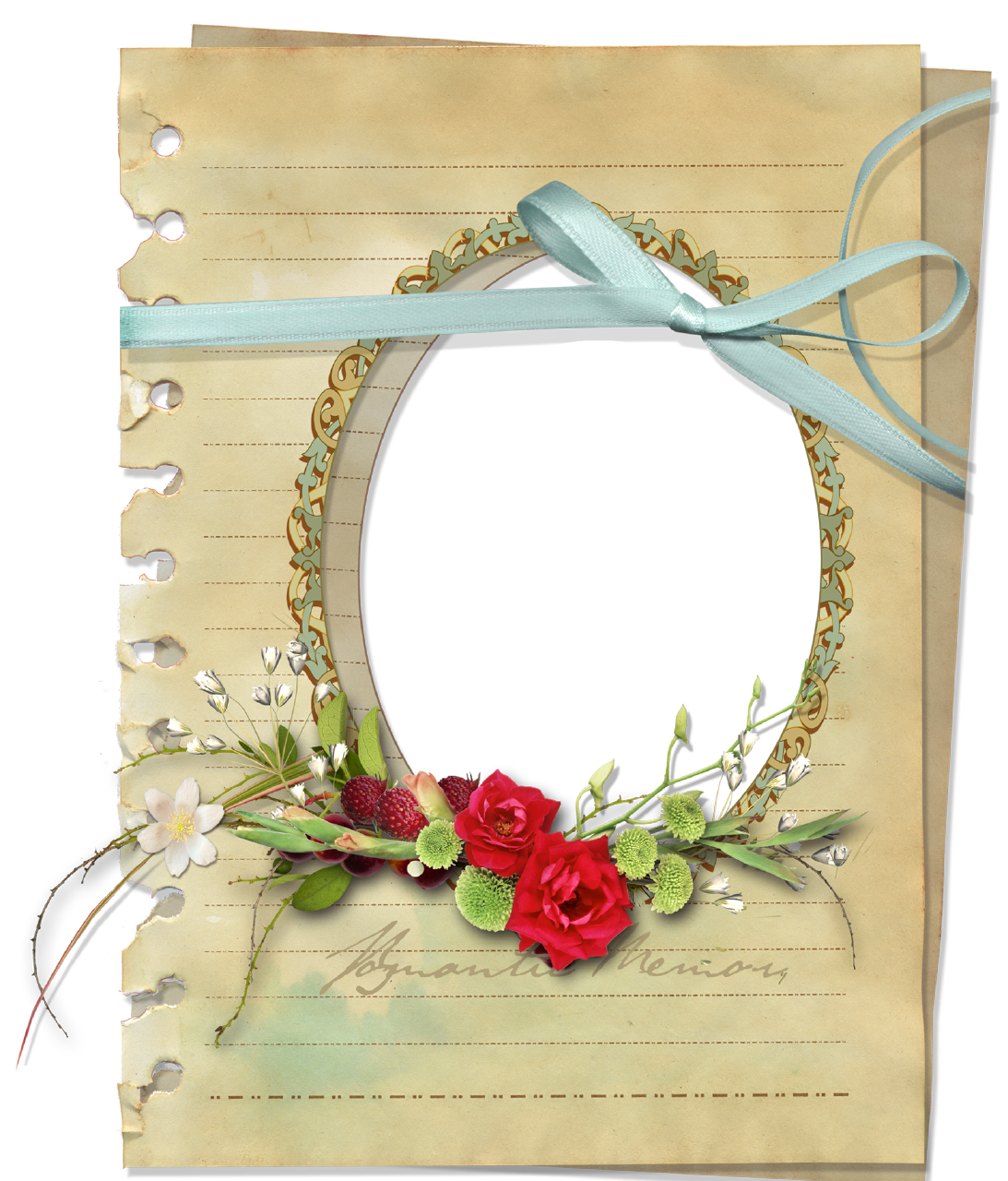 Retro-Style Old Paper Picture Frame with Transparent ...