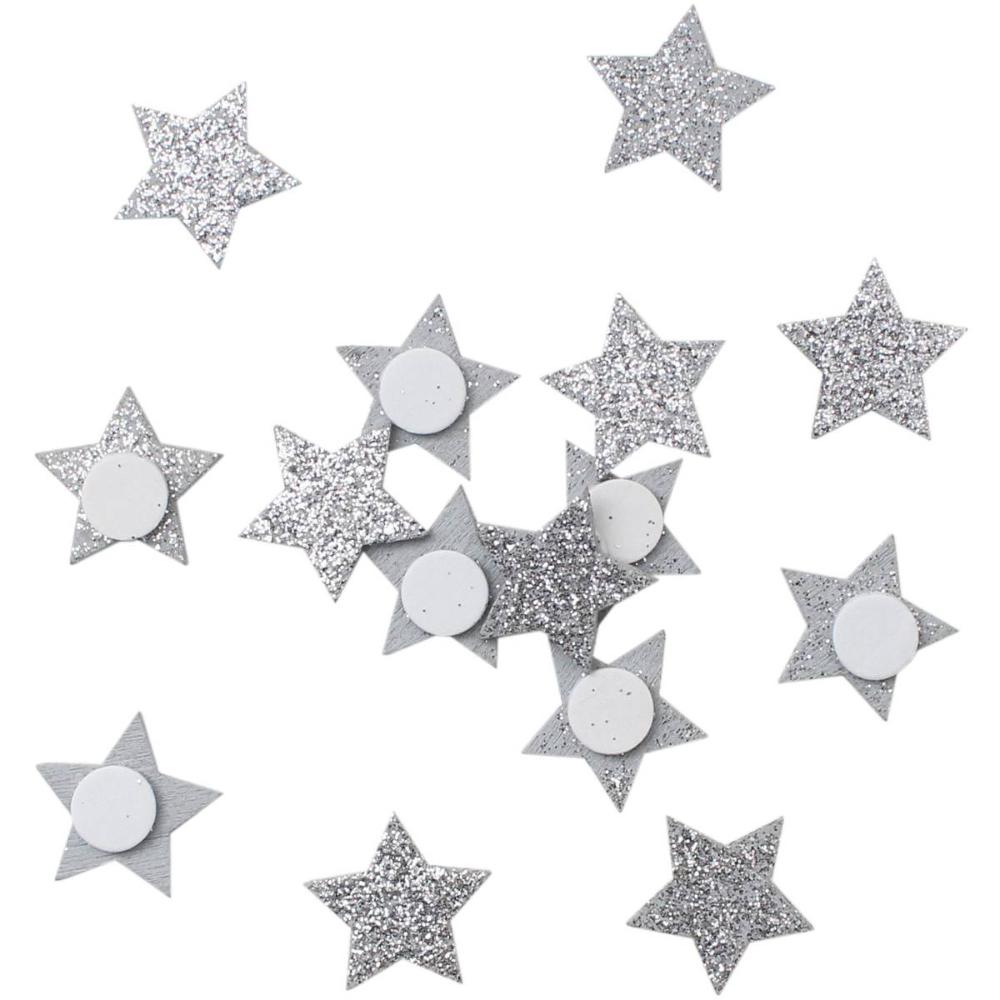 Silver Glitter Wooden Stars 30 Pack Wooden Stars Silver Glitter Sparkling Stars