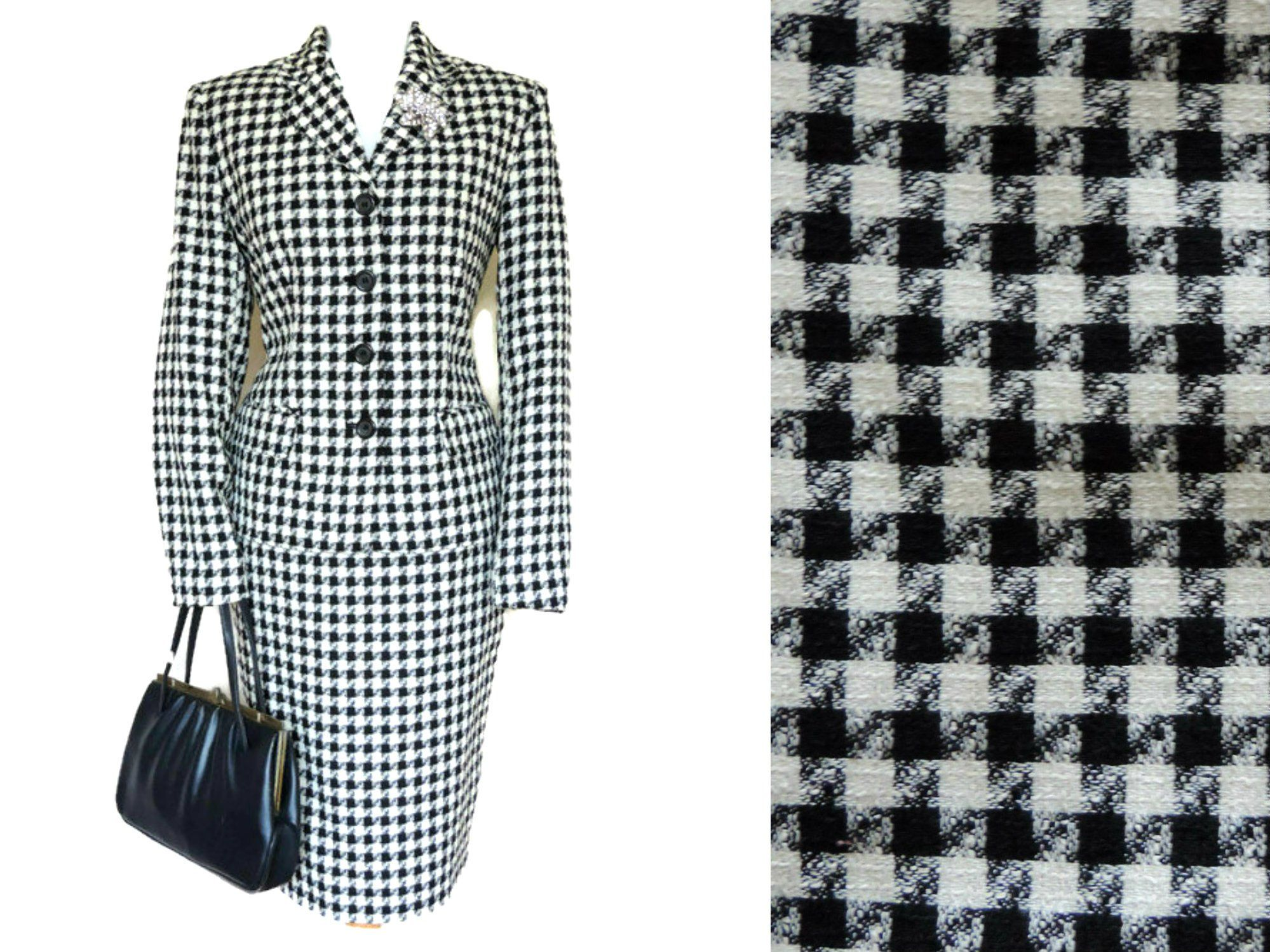 Vintage M S Suit In Black And White Dogtooth Check With Pencil Skirt And Fitted Jacket Ladies Skirt Suit S Vintage Fashion Skirt Suit Vintage Suits