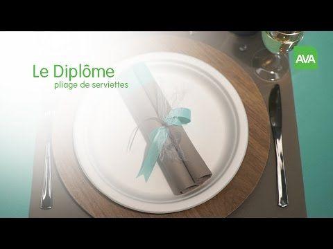 AVA pliage de serviettes: Le Diplôme - YouTube | Pliage serviette, Serviettes, Pliage
