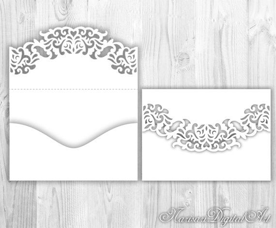 lace fold pocket envelope. laser cut template. silhouette cameo, Invitation templates