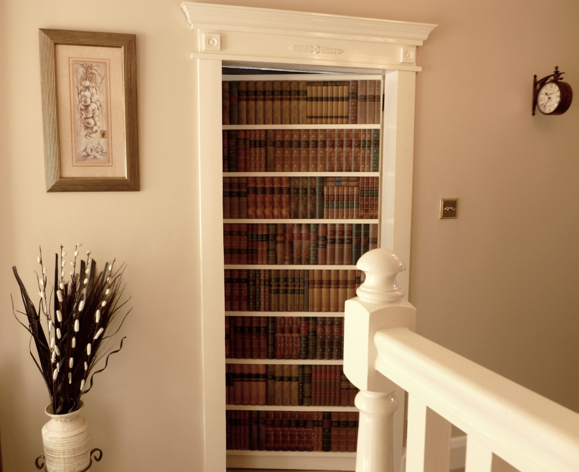Antique style fake books faux books false bookcase for Secret door ideas