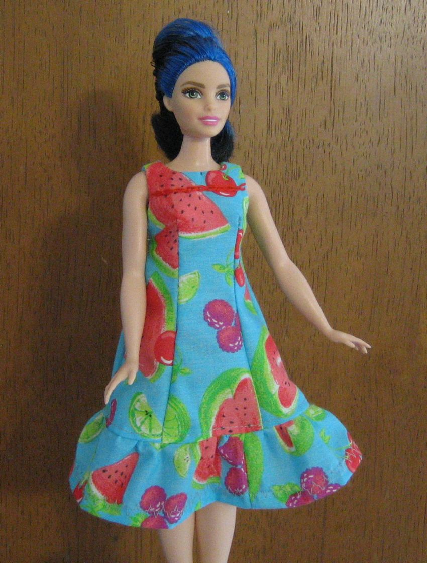 Free pattern for princess seams ruffle sundress for Curvy Barbie ...