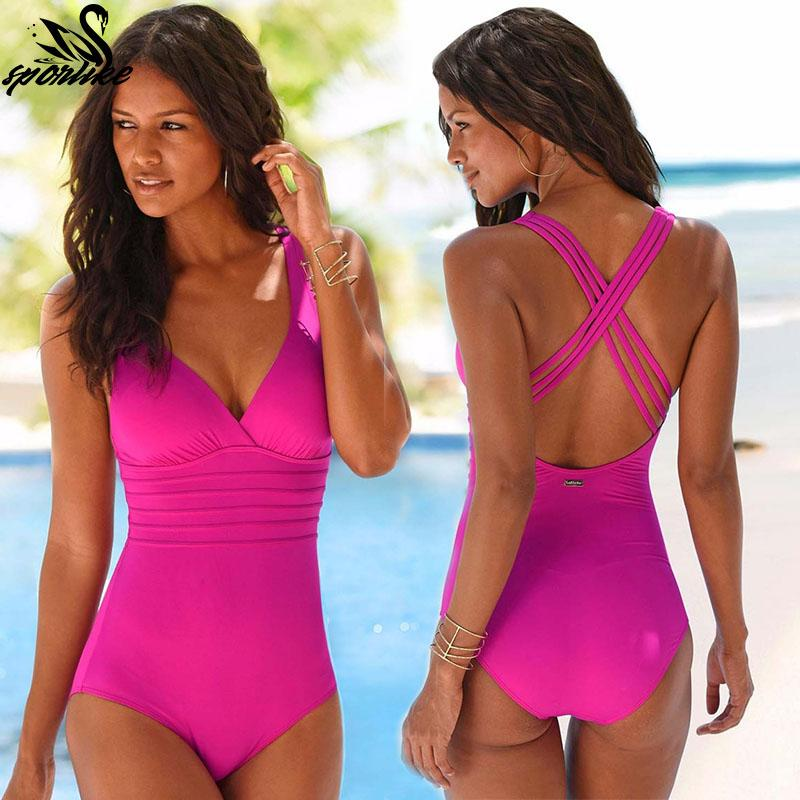 Women Swimming Costume Padded Swimsuits Monokini One Piece Swimwear Beach Bikini