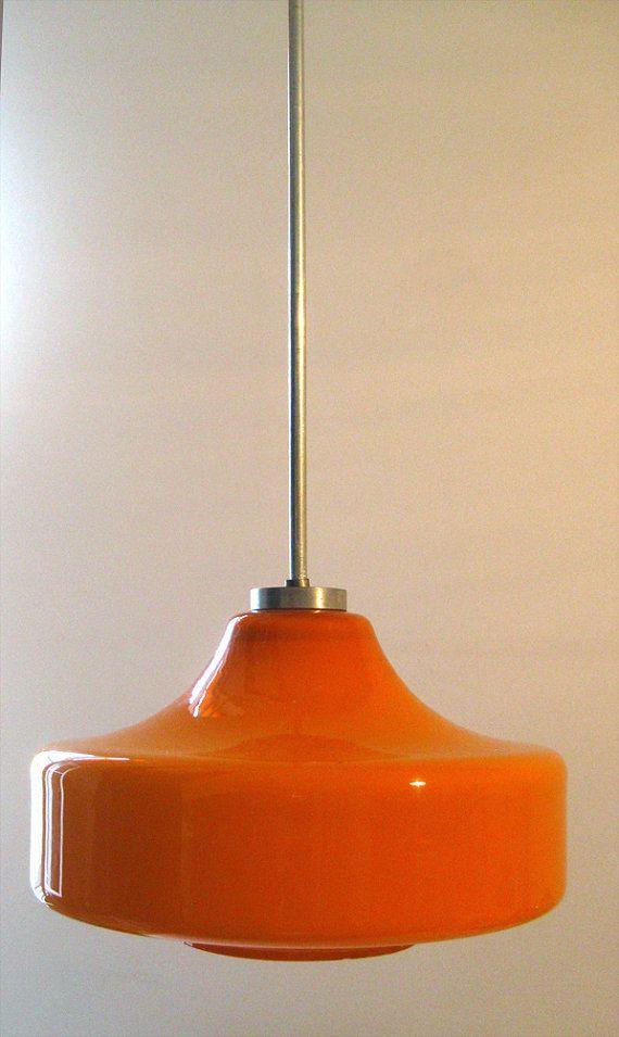 Vintage Pendant Lamp Hanging Orange Glass Long Retro 70s