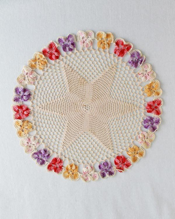 Vintage Pansy Star Doilies Crochet Pattern Available for a wee...