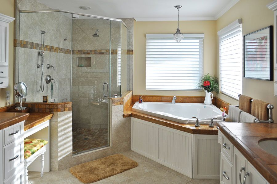 Bathroom:Magnificent Spa Bathroom Decor Idea With Corner Tub And Shower  With Glass Door Spa