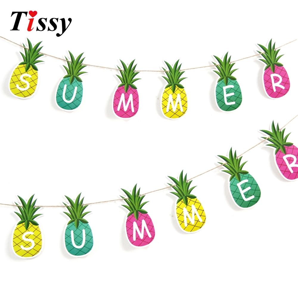 1set Pineapple Garland Summer Fruit Bunting Banners Paper Garlands Diy Tropical Pool Party Birthday Wedding Party Deco Paper Garland Diy Garland Tropical Party