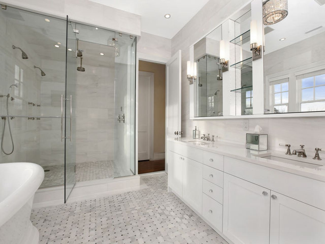 Feminine Bathrooms White Marble Master Bathroom Design Ideas