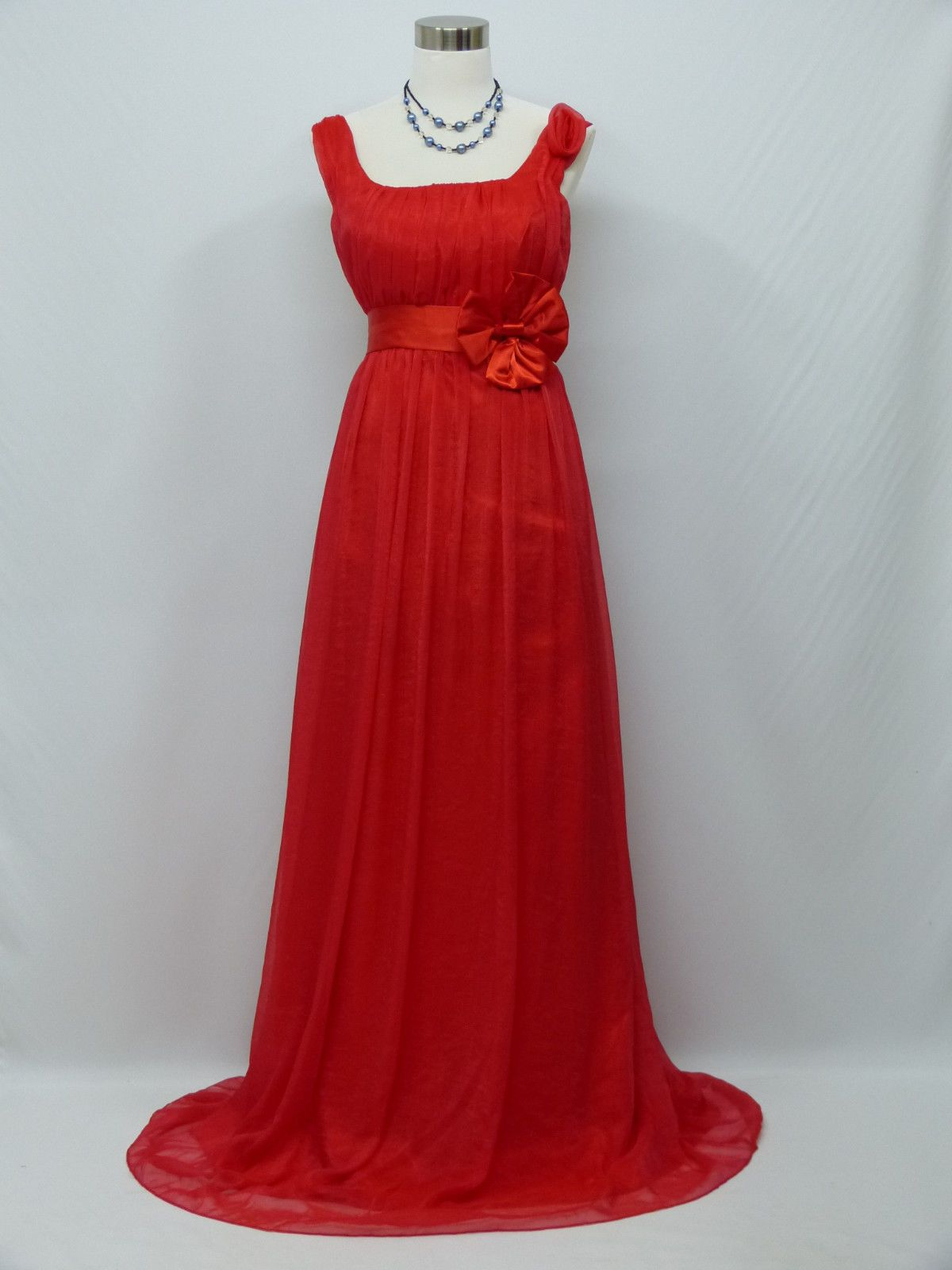 Dress for wedding evening party  Cherlone Plus Size Chiffon Red Ballgown Bridesmaid Wedding Evening
