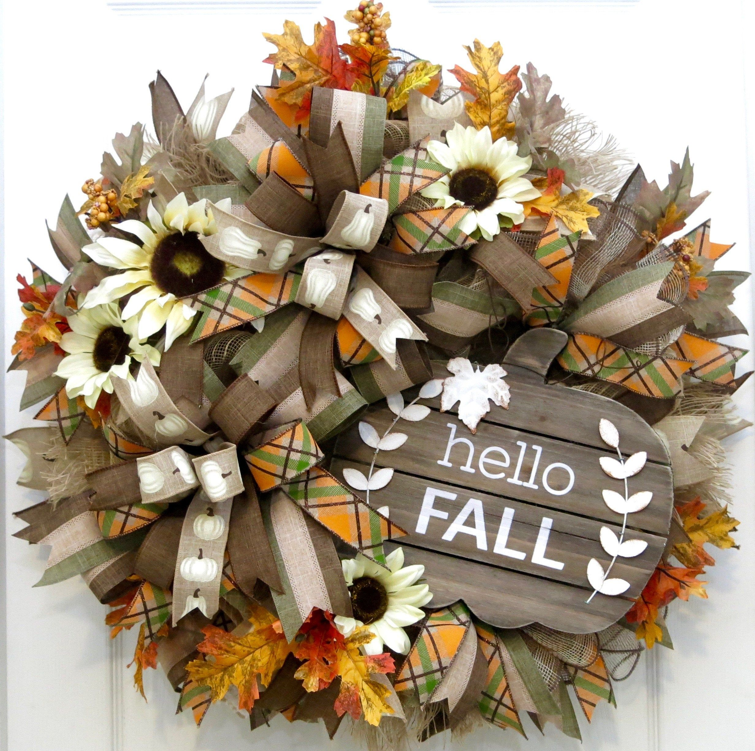Hello Fall Wreath Rustic Fall Wreaths Fall Front Door Etsy Fall Wreaths Door Wreaths Fall Autumn Wreaths For Front Door
