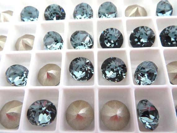 12 Indian Sapphire Foiled Swarovski Crystal Chaton by BeadwareIL-$4.65