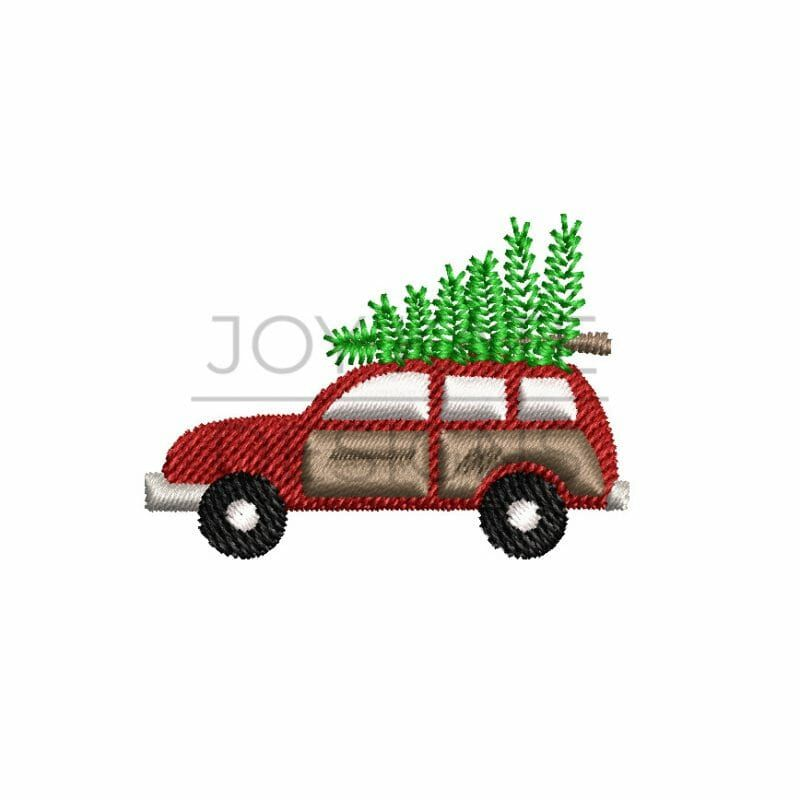 Station Wagon With Christmas Tree Mini Embroidery Design Joy Kate Designs Christmas Applique Winter Embroidery Design Embroidery Designs