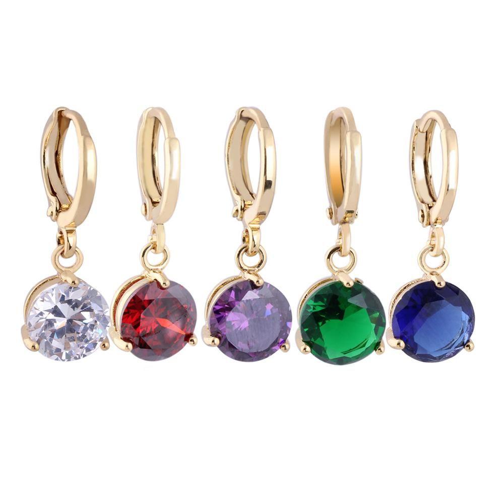 Women/'s fashion jewelry silver hoop pendant crystal purple gemstone earrings