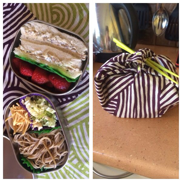 Chicken and tarragon sandwich, strawberries; cold soba noodles and wombok salad