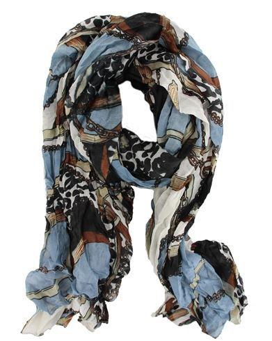 #Vintage #Fashion Leopard Chain Print Long Scarf #Shawl #Wrap in Blue