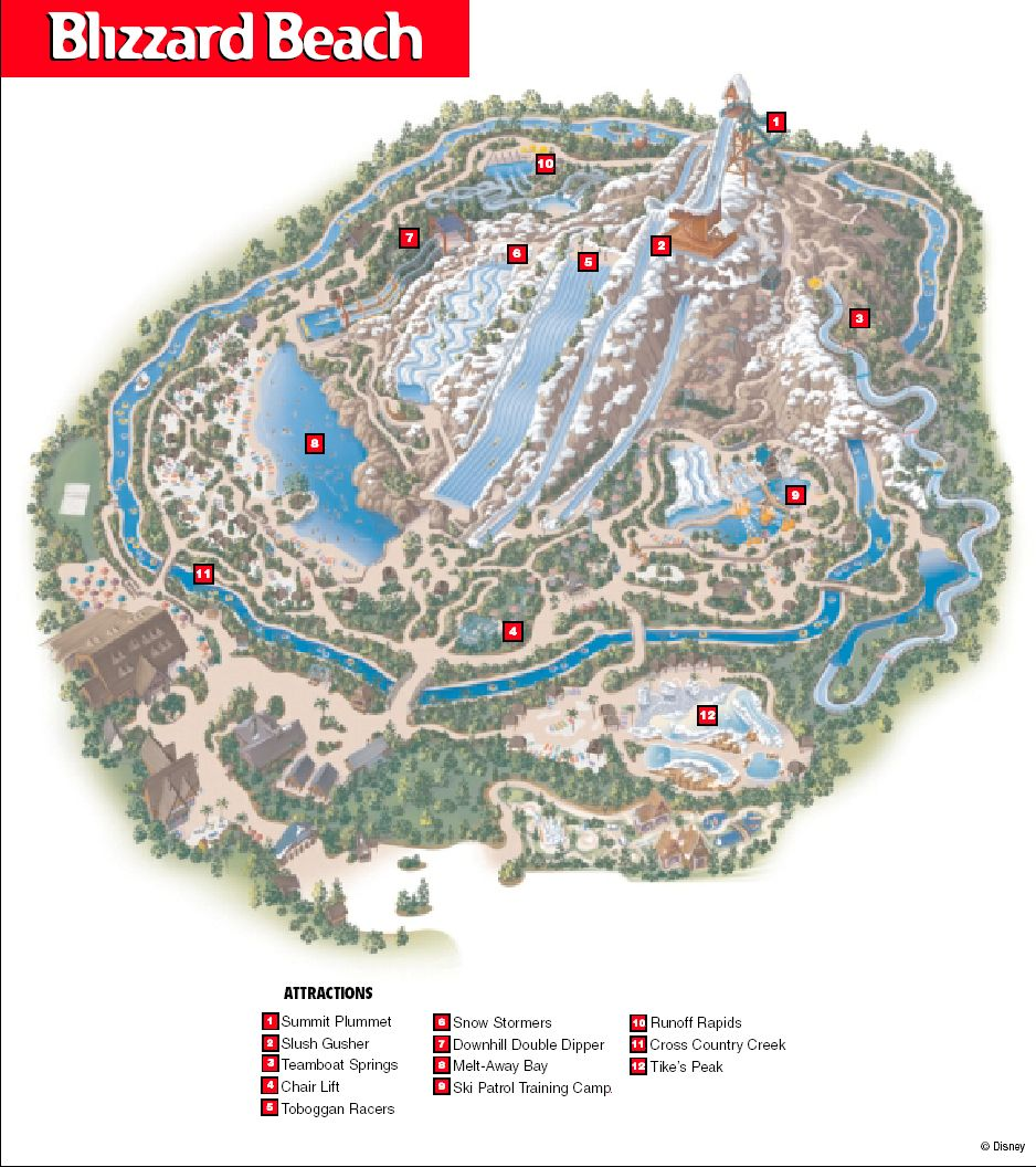 map of blizzard beach orlando Blizzard Beach Map Walt Disney World Disney Blizzard Beach map of blizzard beach orlando