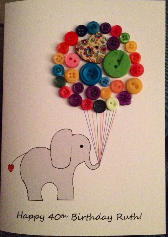 Button art Elephant birthday card hand finished by DollybirdCrafts