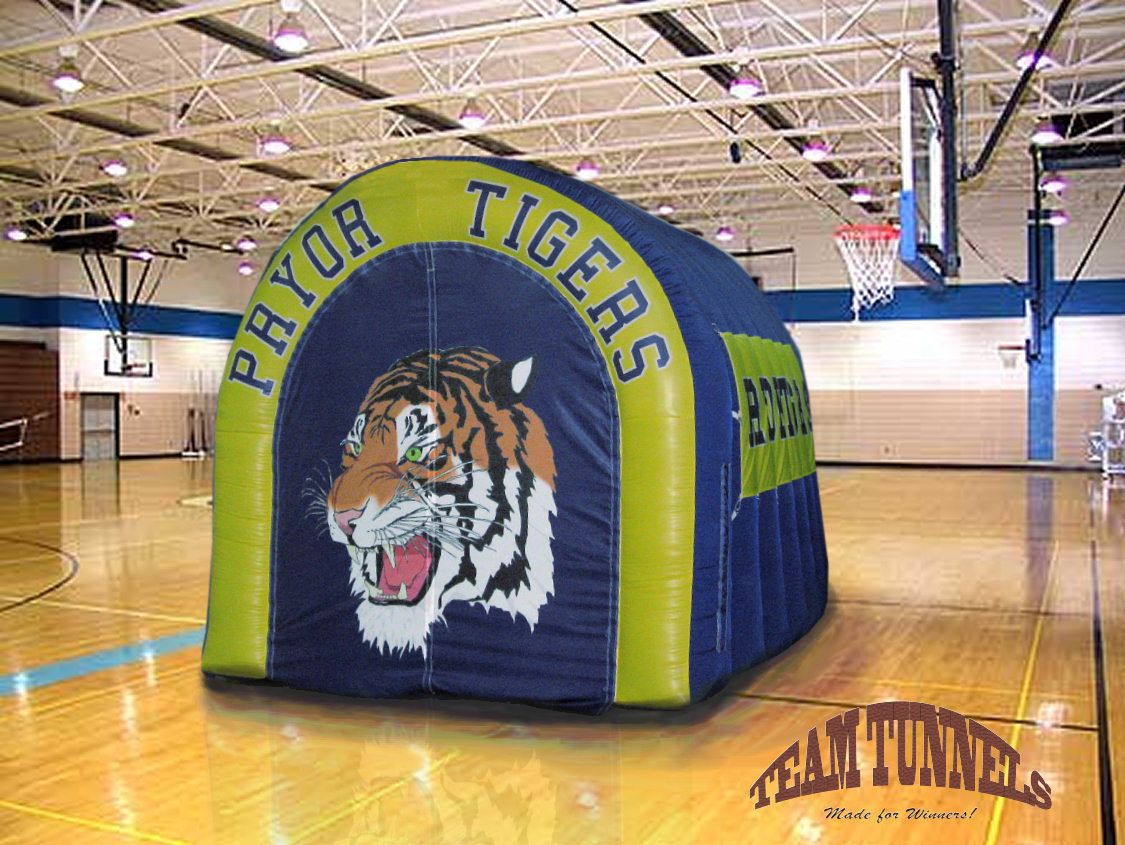 Inflatable tunnel for the Pryor Tigers basketball team