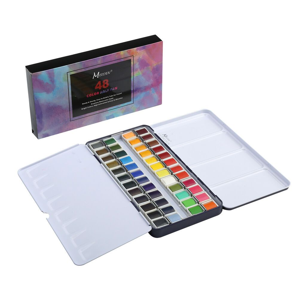 Meeden Watercolor Paint 48 Watercolor Travel Pan Sets With