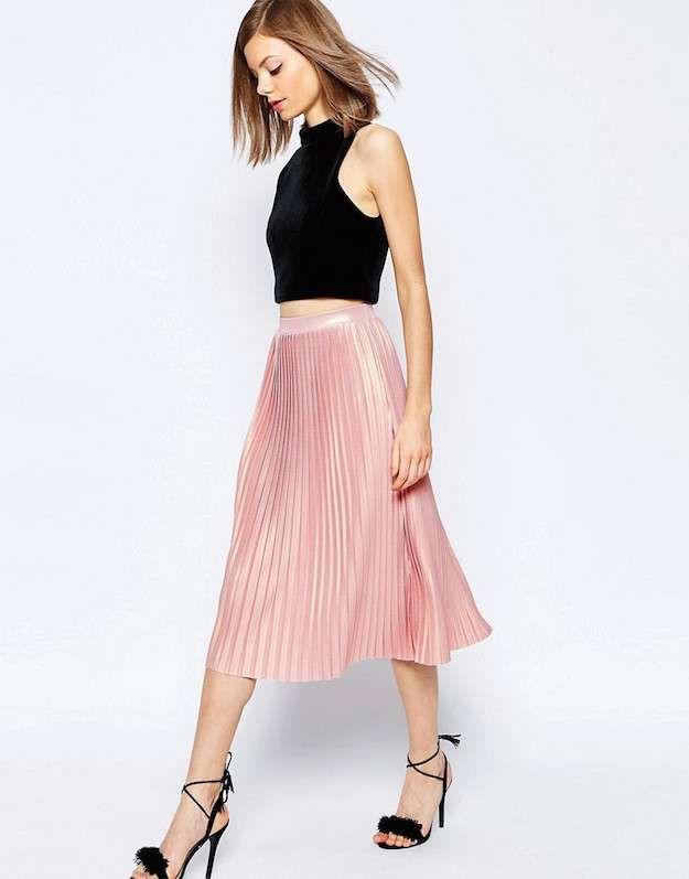 782154191 Faldas plisadas Primavera Verano 2016  fotos de los modelos - Falda plisada  rosa de Asos