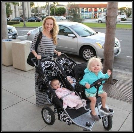 twins and toddler in stroller