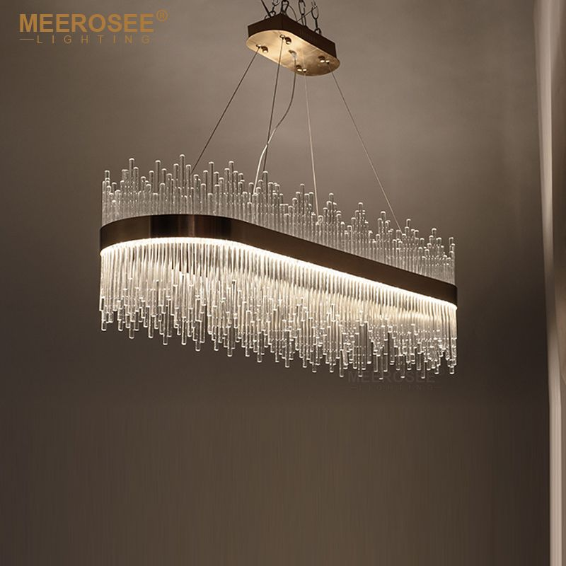 Modern Led Pendant Light Crystal Rods Hanging Lamp For Dinning Room Gold Oval Suspensionluminaire Abajur W Wine Glass Chandelier Glass Chandelier Pendant Light