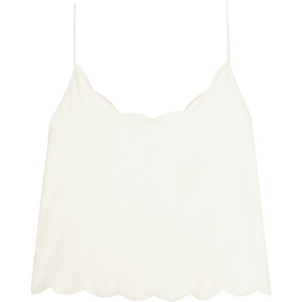 Kate Moss for Equipment Paola scalloped washed-silk camisole ($185) ❤ liked on Polyvore featuring tops, blusas, cropped, white, white silk camisole, silk cami, silk camisole, cropped camis and white cami