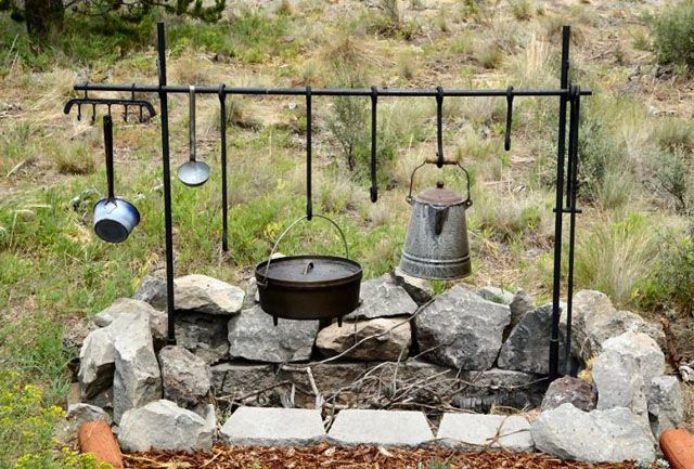 Dutch Oven Cooking Setup Don T Forget To Keep The Coffee Warm Campfire Cooking Equipment Bbq Setup Campfire Cooking