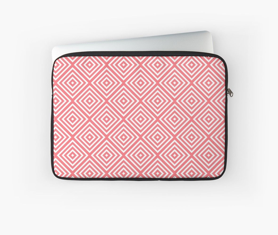 85cbddc3cfac Coral pink and white diamond rhombus pattern | Laptop Sleeve in 2019 ...