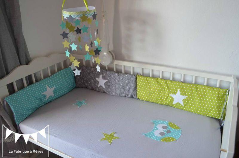 Linge de lit bébé, articles textile et décoration chambre enfant - deco chambre turquoise gris