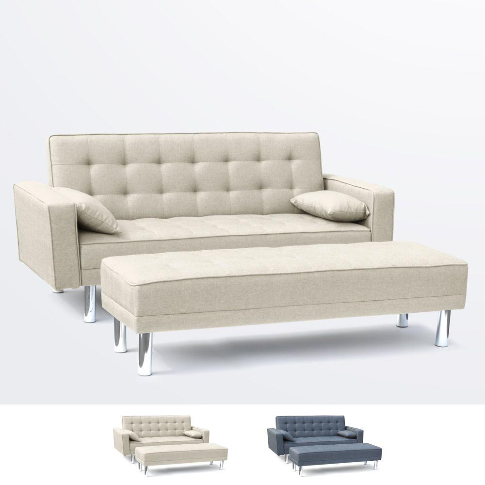 Canape Convertible Double 2 Places En Simili Cuir Avec Accoudoirs Et Oreillers Agata Canape Lit Canape Decoration Maison