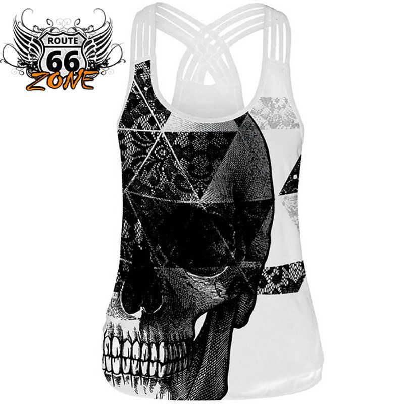 d5606ad005 Skull 3d Print Black Weaved Spaghetti Strap Women s Workout Tank Top ...