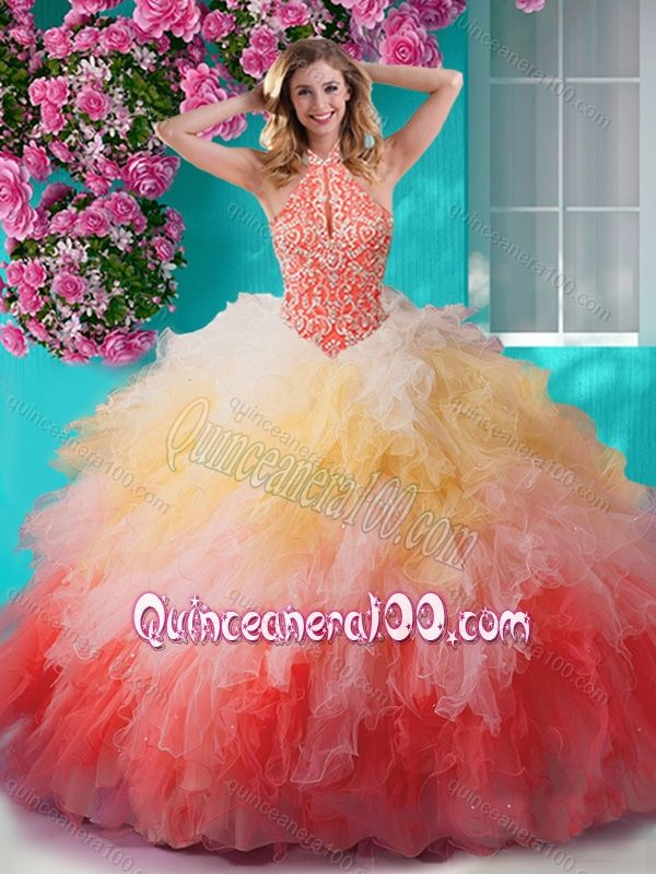 46bdd7bb290 Exclusive Rainbow Halter Top Quinceanera Dress with Beading and Ruffles -  Quinceanera 100