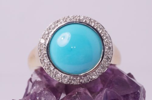 14K-Yellow-Gold-LeVian-Round-Persian-Turquoise-Diamond-Ring-Size-8
