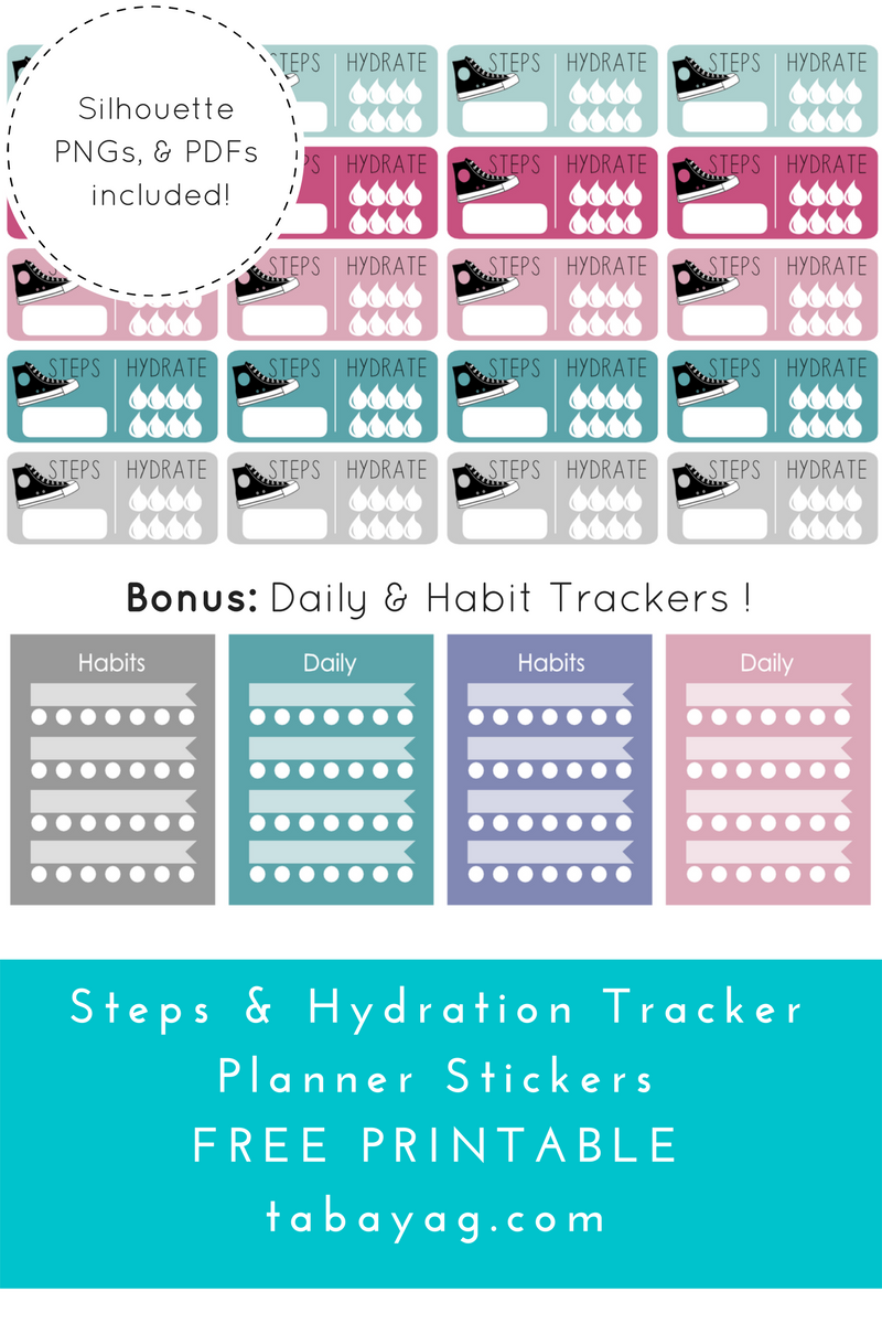 PlanIt! Step, Hydration, & Habit Tracker Stickers - Free Printable! | Return to Sender: Letters to the World
