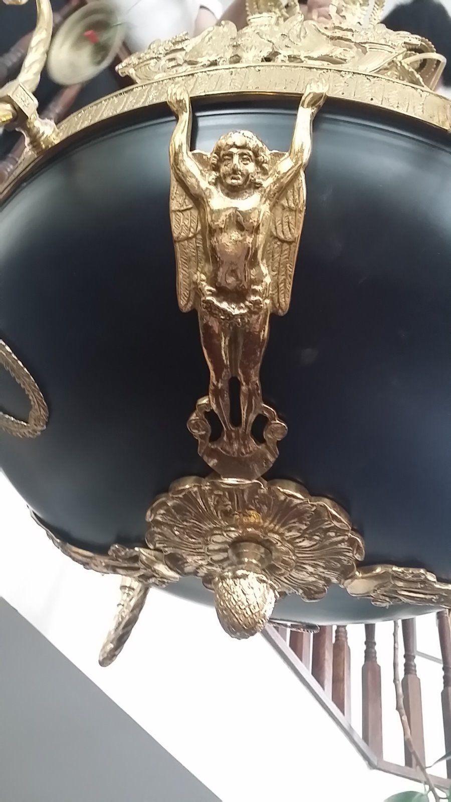 Empire Style Antique 1950s Black Enamel Decorative Gold