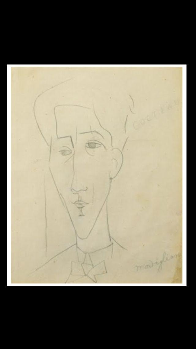 """Amedeo Modigliani - """" Portrait de Jean Cocteau """", c. 1916 - Mine de plomb sur papier - 24,7 x 19,6 cm (*)"""