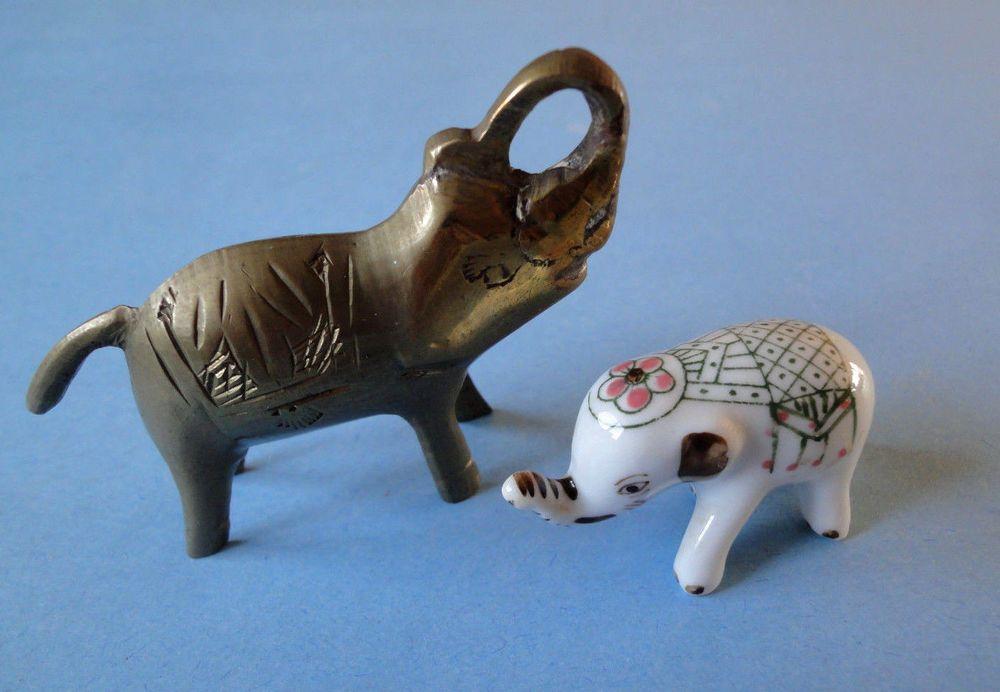 Elephants, Two (2) , Porcelain & Brass Miniature Figurines