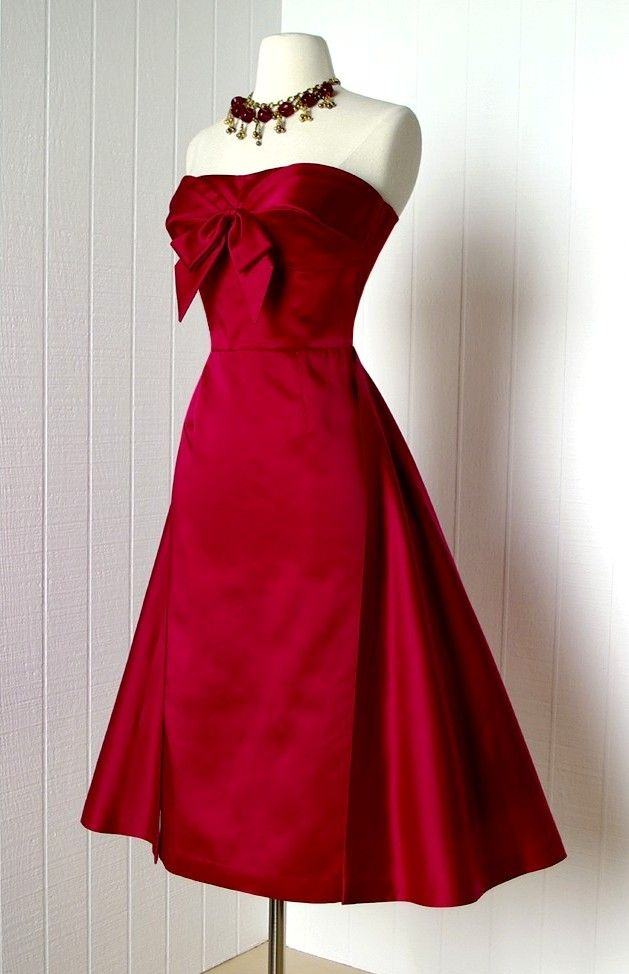 72747bb7a11a Red satin 1950s dress with bow at neckline | Vintage in 2019 ...