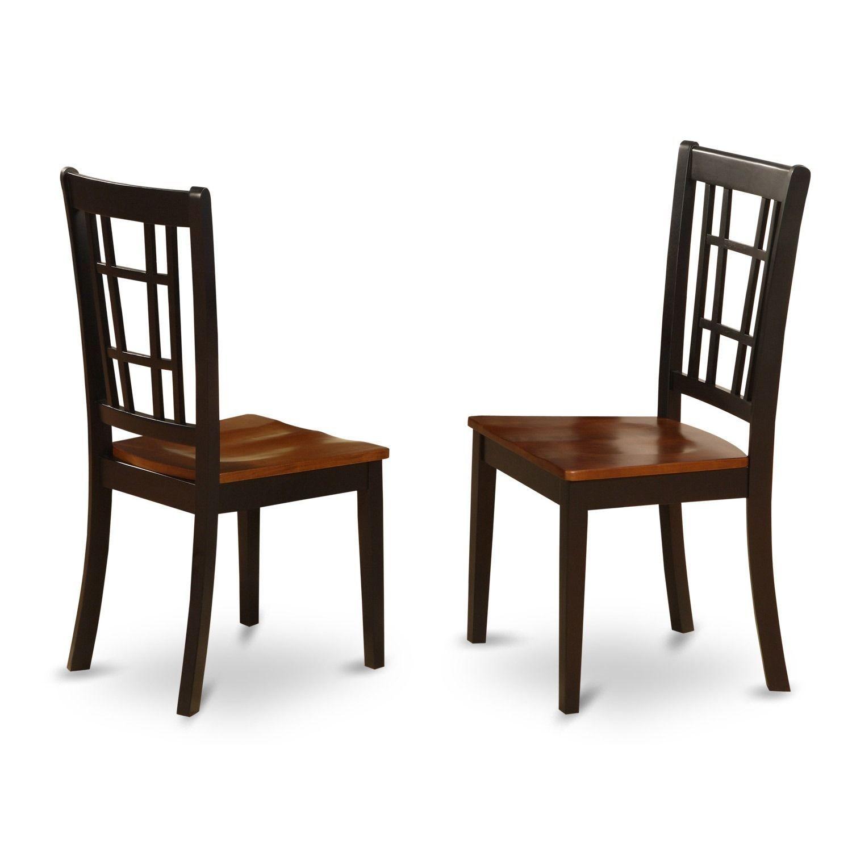 Nicoli Black/ Cherry Kitchen Chair (Set of 2) (Wood seat ...