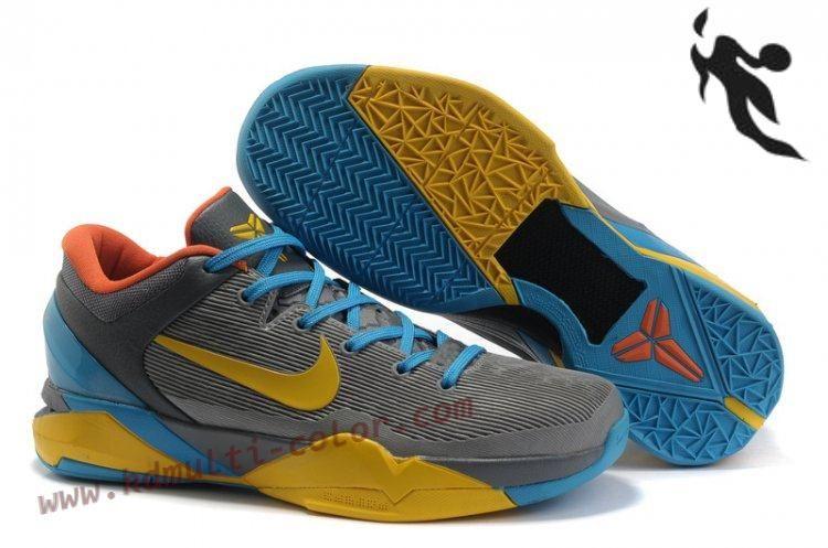 New Nike Zoom Kobe 7(VII) NBA Shoes Grey Yellow Blue