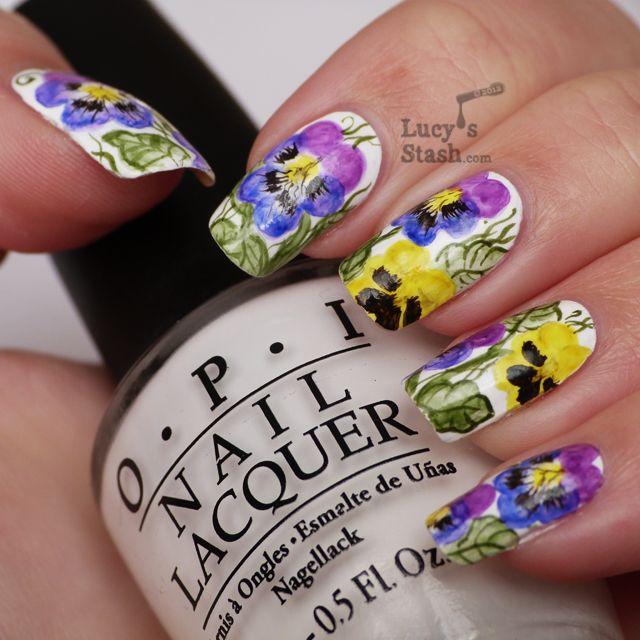 Watercolour Aquarelle Nail Art Pansy Violet Flowers Nails Nail Art Inspiration Nail Art