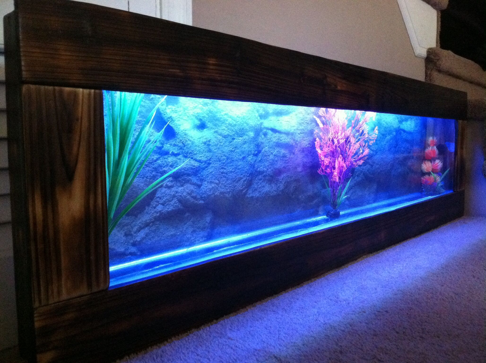 Dark wood frame aquarium color lights remote control