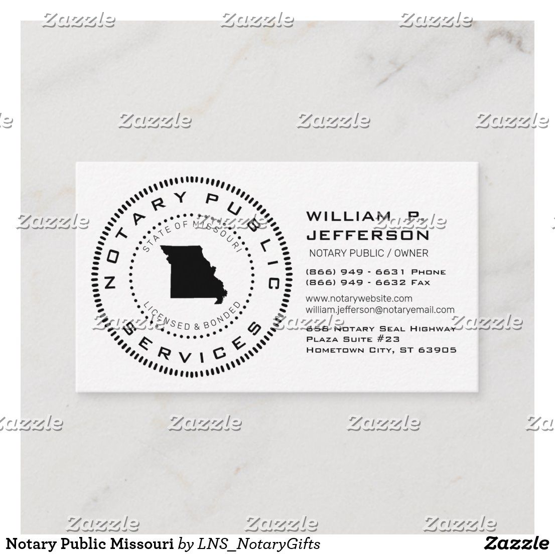 Notary public missouri business card in 2020