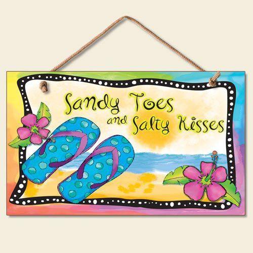 New Flip Flops Wall Plaque Beach Sign Tropical Decor Coastal ART ...
