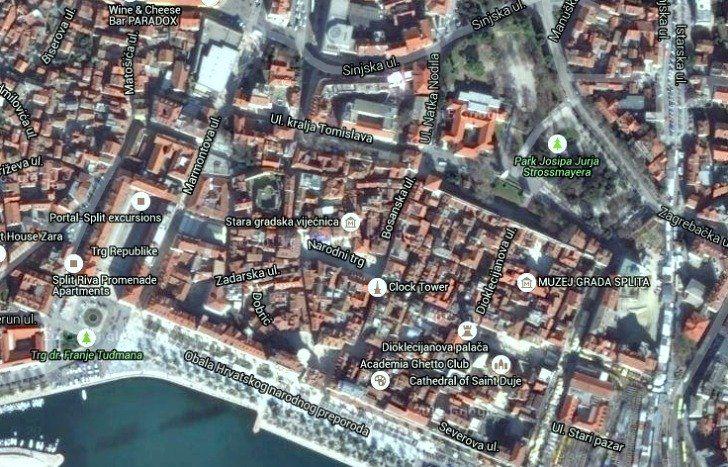 Split Old Town Map Croatia Travel Guide Croatia Travel Town Map