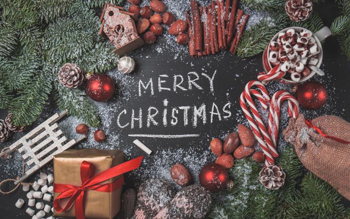 Elegant Herunterladen Hintergrundbild Frohe Weihnachten, Neues Jahr, 2018,  Weihnachtsbaum, Rote Kugeln