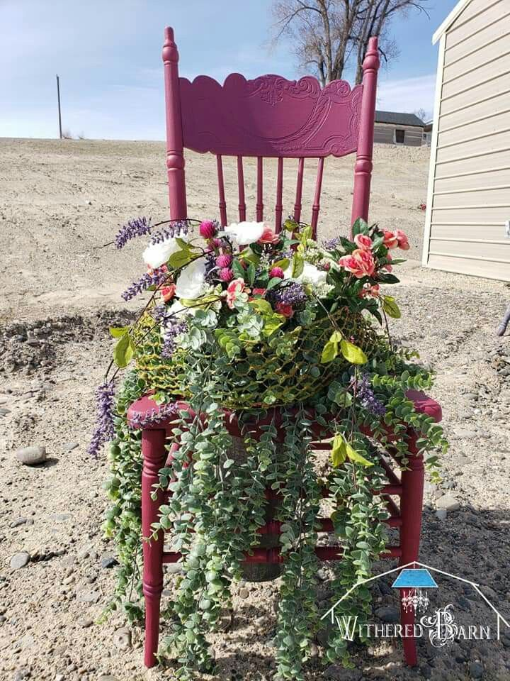 Miss Lillian S No Wax Chock Paint Candied Cranberry Photo Credit The Withered Barn Chair Planter Garden Chairs Planters