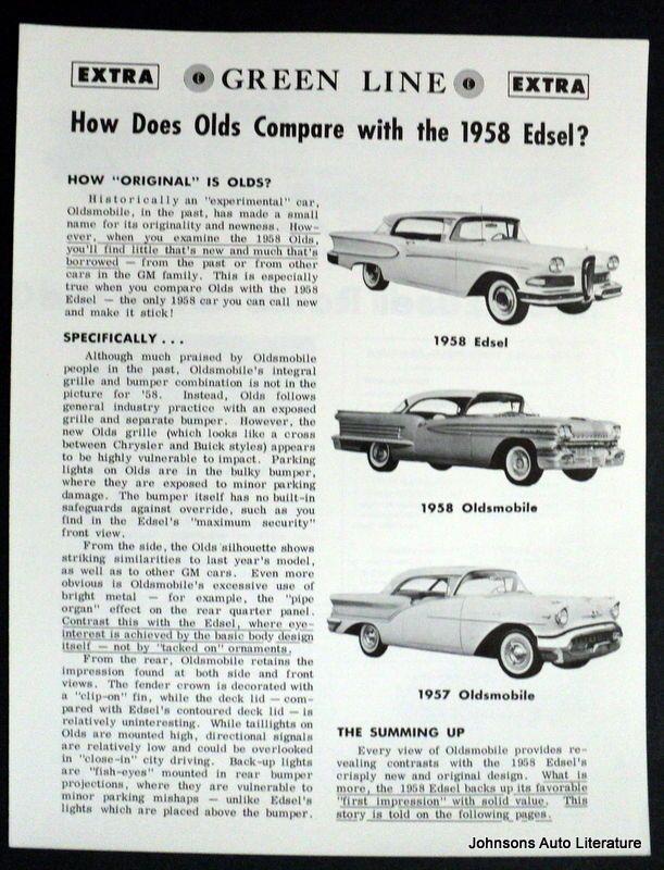 Ford 1958 Edsel Green Line vs Oldsmobile Sales Brochure Ford - sales brochure